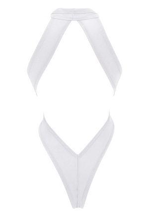 Woman Swimsuit High-Cut Thong Monokini / CRISS-CROSS SWIM WHITE - EXES LINGERIE