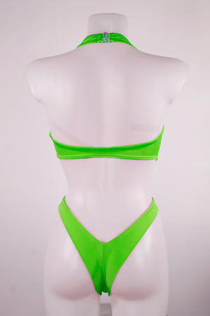 Wrap Tie CUT-OUT BODYSUIT / NINA CLIP / LIME - EXES LINGERIE