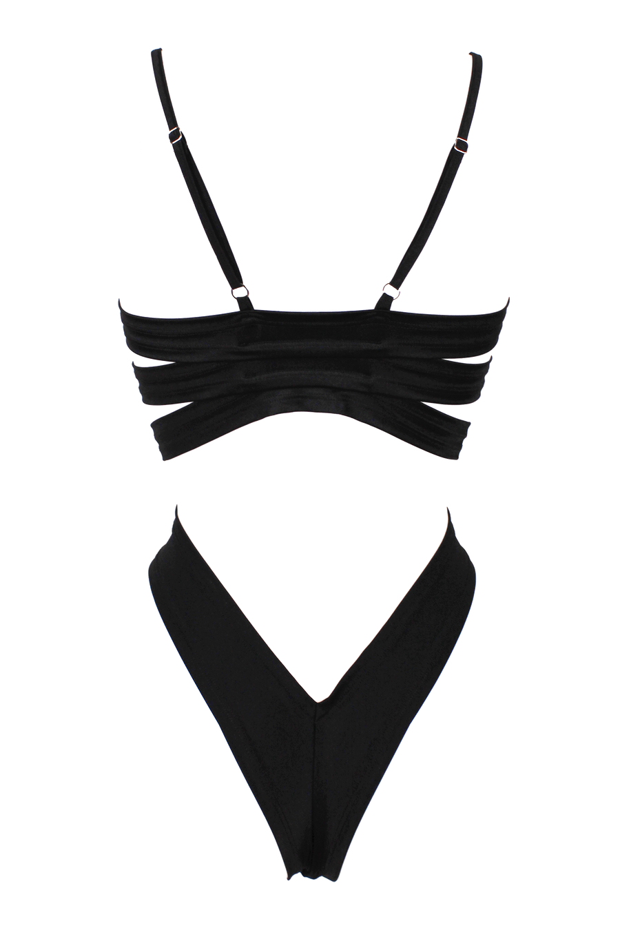Sexy STRAPPY BACK SWIM Bodysuit / BLACK - EXES LINGERIE