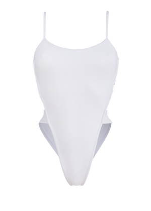 Edgy Swimwear High-Cut Bodysuit / STRAPPY BACK SWIM WHITE - EXES LINGERIE
