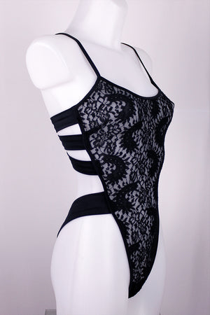 Sexy STRAPPY BACK LACE Bodysuit / Lace Teddy / BLACK,BODYSUITS - EXES LINGERIE