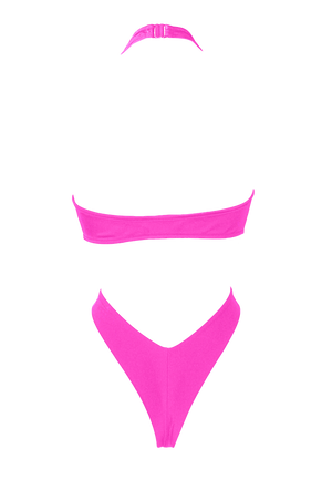 VICKY Wrap Tie Bodysuit / NEON PINK,BODYSUITS - EXES LINGERIE