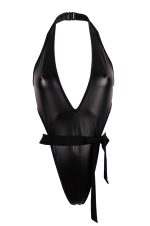 VICKY Wrap Tie Wet Look Bodysuit / WET LOOK BLACK,BODYSUITS - EXES LINGERIE