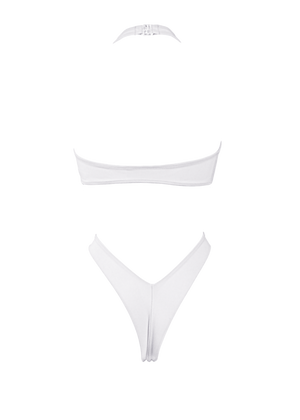 Plunge-Front Tie-Wrap One-Piece Swimsuit / VICKY SWIM WHITE - EXES LINGERIE
