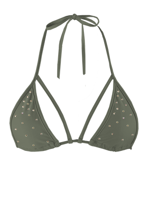 STRAPPY TRIANGLE SWIM Bikini Top  / KHAKI - EXES LINGERIE