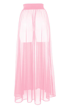 MESH MAXI SKIRT / Cover-up Long Festivals Skirt / BABY PINK,SKIRTS & PANTS - EXES LINGERIE