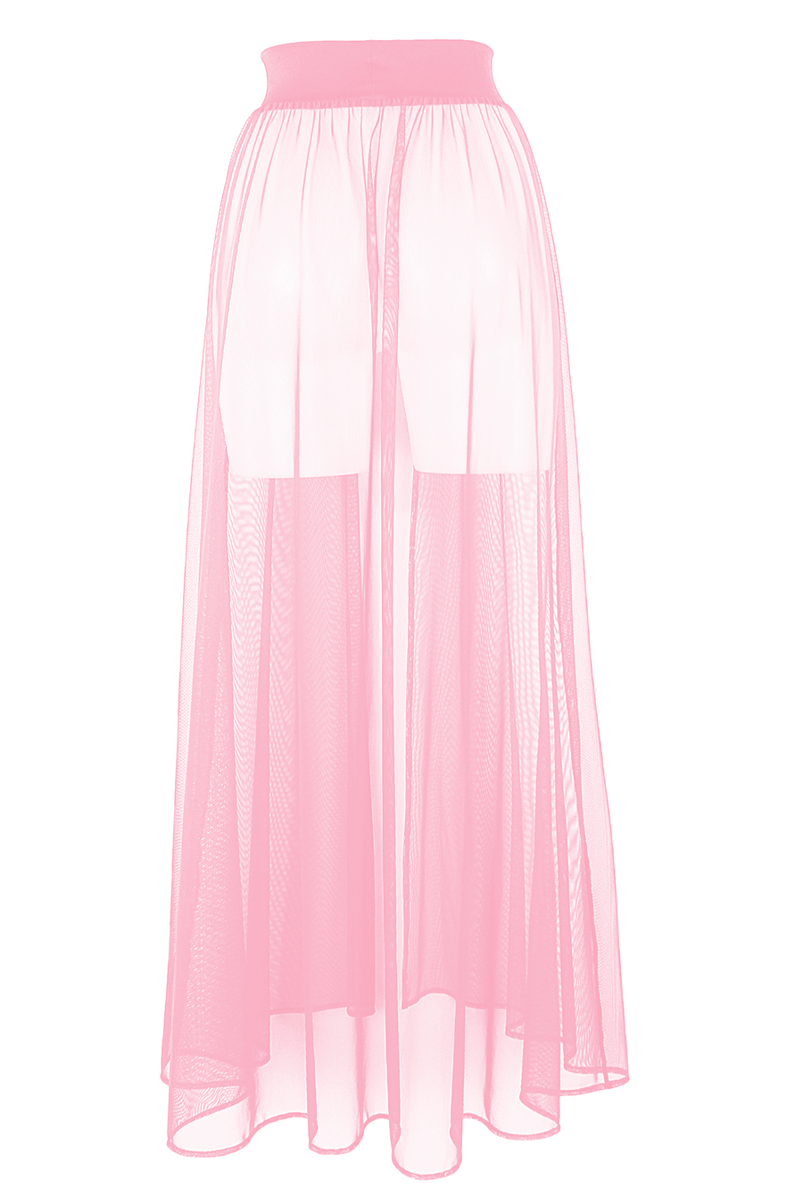 MESH MAXI SKIRT / Cover-up Long Festivals Skirt / BABY PINK - EXES LINGERIE