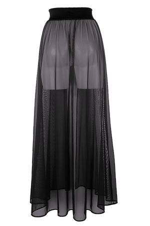 MESH MAXI SKIRT / Cover-up Long Skirt / BLACK,SKIRTS & PANTS - EXES LINGERIE