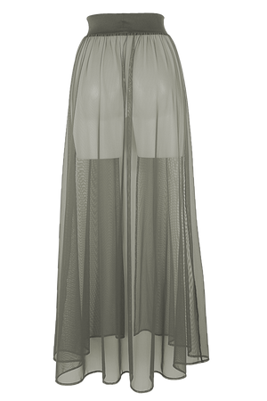 MESH MAXI SKIRT / Cover-up Long Skirt / KHAKI,SKIRTS & PANTS - EXES LINGERIE