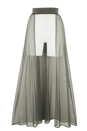 MESH MAXI SKIRT / Cover-up Long Skirt / KHAKI - EXES LINGERIE