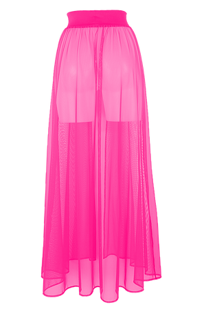 MESH MAXI SKIRT / Cover-up Long Skirt / NEON PINK,SKIRTS & PANTS - EXES LINGERIE