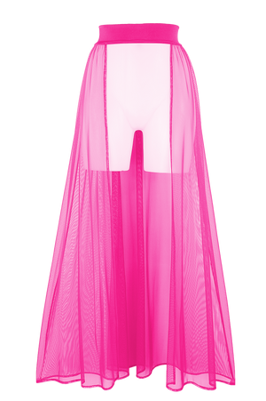MESH MAXI SKIRT / Cover-up Long Skirt / NEON PINK - EXES LINGERIE