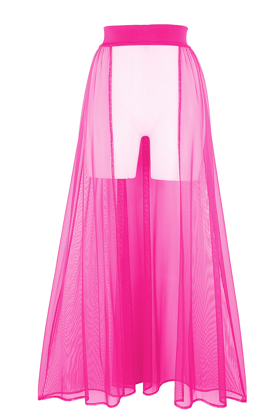 Mesh Maxi Skirt Cover-up Long / RESORT SKIRT NEON PINK,COVER-UPS - EXES LINGERIE