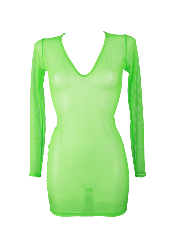 Dress Long Sleeve Cover-Up / NEON LIME - EXES LINGERIE