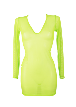 Dress Long Sleeve Cover-Up / NEON YELLOW - EXES LINGERIE
