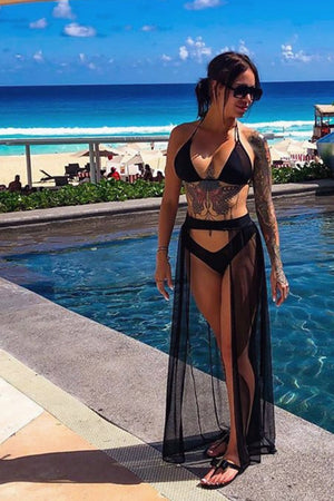 MESH MAXI SKIRT / Cover-up Long Skirt / BLACK - EXES LINGERIE