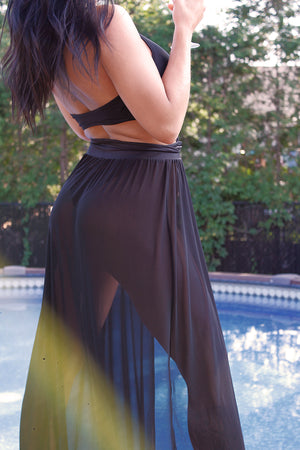 Mesh Maxi Skirt Cover-up / RESORT SKIRT BLACK,COVER-UPS - EXES LINGERIE