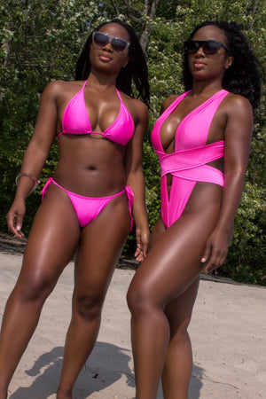 Woman Swimsuit High-Cut Thong Monokini / CRISS-CROSS SWIM PINK PARADISE - EXES LINGERIE