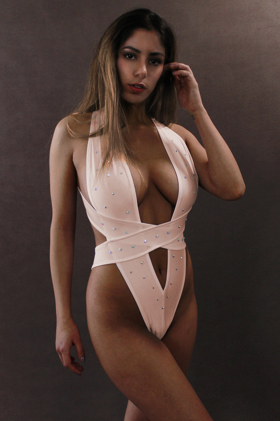 CRISS CROSS CRYSTAL Sexy High-Cut Bodysuit / Rave Bodysuit / FLESH,BODYSUITS - EXES LINGERIE