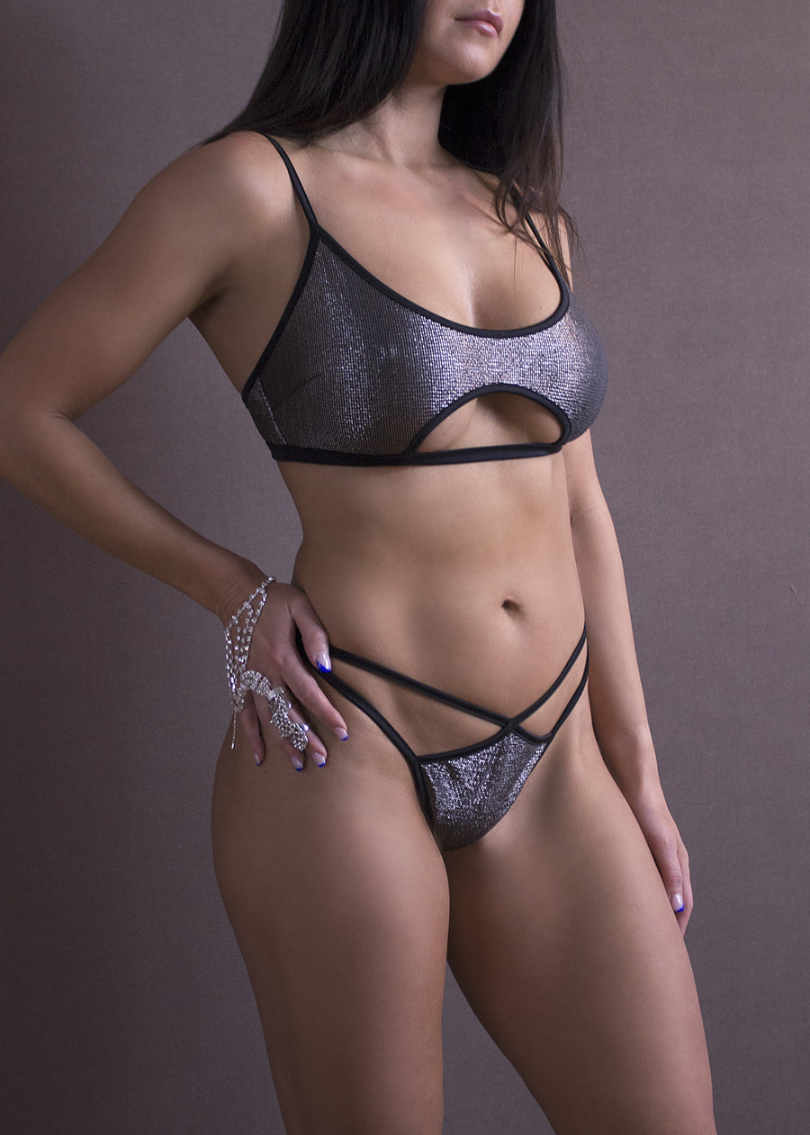 METALLIC CUT-OUT BRALETTE TOP/ METALLIC PEWTER - EXES LINGERIE