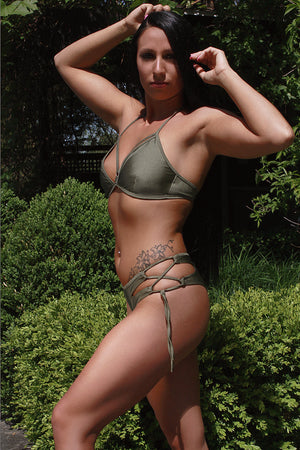 AIMEE TOP SWIM Strappy Bikini Top / KHAKI,TOPS - EXES LINGERIE