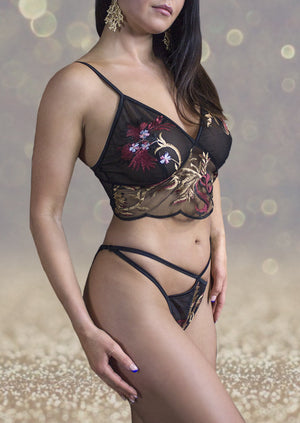 EMBROIDERED FLORAL LACE BUSTIER / DRAGON FLORAL,TOPS - EXES LINGERIE