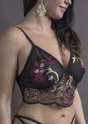 EMBROIDERED FLORAL LACE BUSTIER / DRAGON FLORAL - EXES LINGERIE