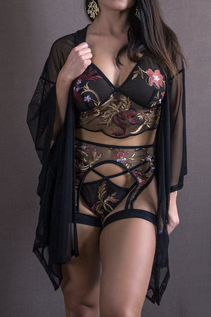 EMBROIDERED GARTER BELT / BLACK FLORAL,BOTTOMS - EXES LINGERIE