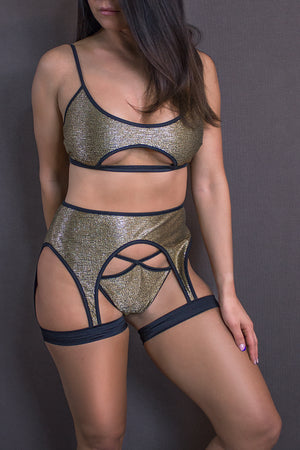 LINGERIE SET SHIMMER GOLD CUT-OUT TOP + THONG / METALLIC GOLD,SETS - EXES LINGERIE
