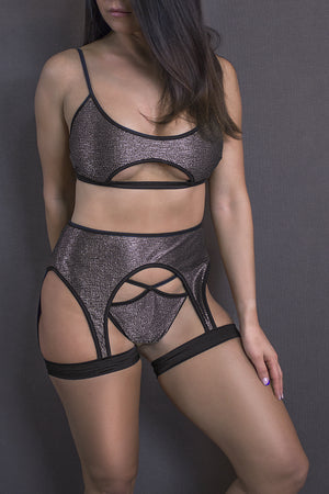 LINGERIE SET CUT-OUT TOP + THONG / METALLIC PEWTER