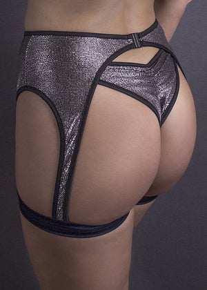 METALLIC GARTER BELT / METALLIC PEWTER,BOTTOMS - EXES LINGERIE
