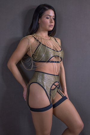 SHIMMER GOLD CUT-OUT TOP/ METALLIC GOLD - EXES LINGERIE