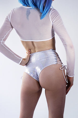 HIGH-WAISTED Lace-up Bottoms / WHITE Hologram,BOTTOMS - EXES LINGERIE