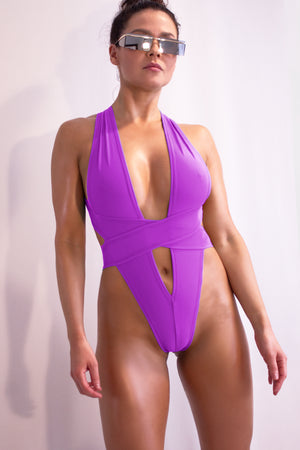 Woman Swimsuit High-Cut Thong Monokini / CRISS-CROSS SWIM MAGENTA - EXES LINGERIE
