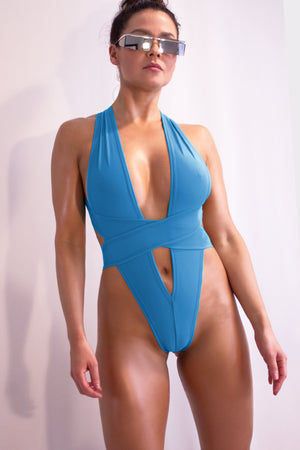 Woman Swimsuit High-Cut Thong Monokini / CRISS-CROSS SWIM PACIFIC BLUE - EXES LINGERIE