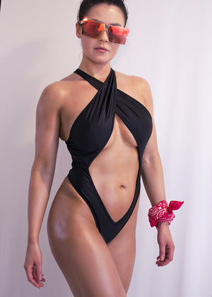 Sexy High-Cut Swimsuit Monokini / BREEZY SUMMER SWIM BLACK - EXES LINGERIE