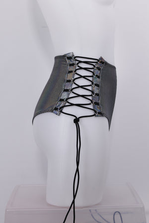 HIGH-WAISTED Lace-up Bottoms / SILVER Hologram,BOTTOMS - EXES LINGERIE