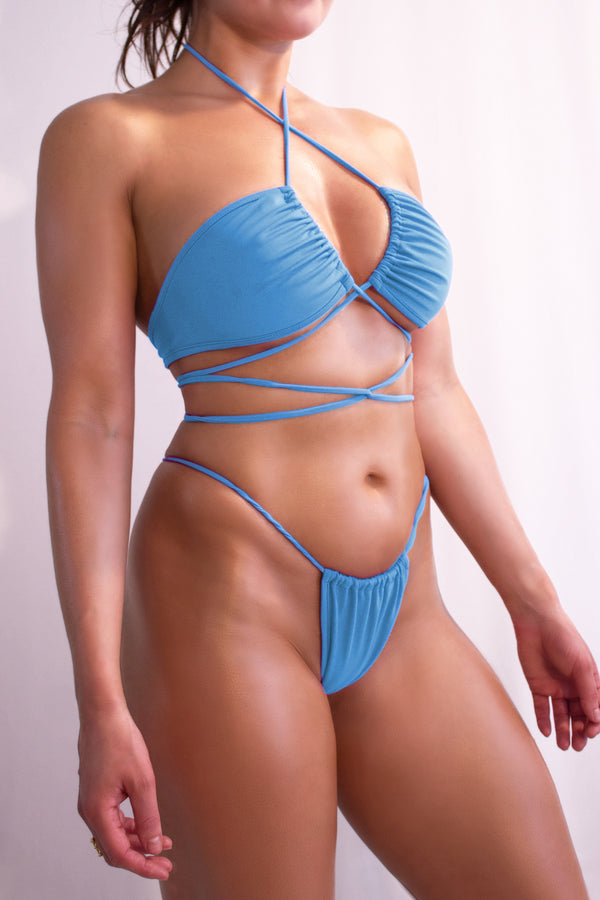 Sexy Multi way Bikini Set / Top Bikini + Draw String Thong  / TULUM BIKINI SET  SWIM PACIFIC BLUE