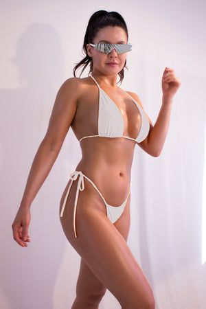 Sexy Triangle Bikini Set Top Bikini + Side Ties Thong  / SUNRISE BIKINI SWIM WHITE - EXES LINGERIE