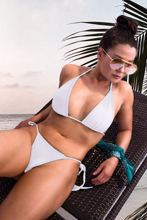 Triangle Bikini Top Swimsuit / LONG BEACH TOP SWIM WHITE,TOPS - EXES LINGERIE
