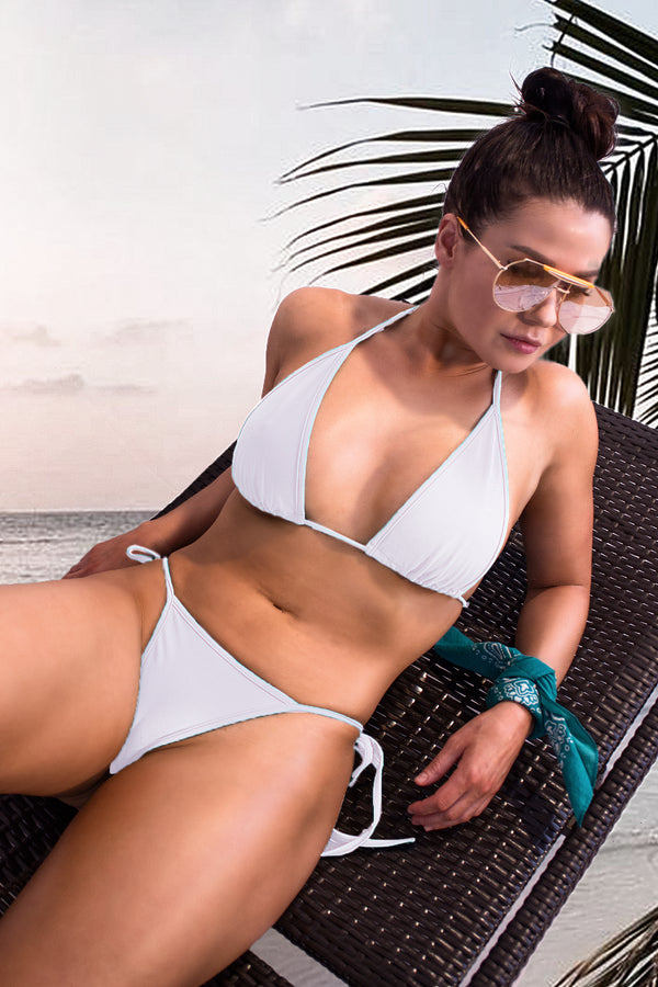 Sexy Triangle Bikini Set Top Bikini + Side Ties Thong  / SUNRISE BIKINI SWIM WHITE,SETS - EXES LINGERIE