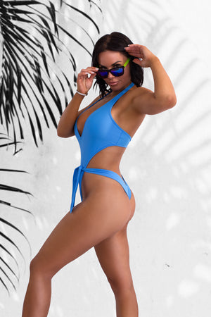 Plunge-Front Tie-Wrap One-Piece Swimsuit / VICKY SWIM PACIFIC BLUE - EXES LINGERIE
