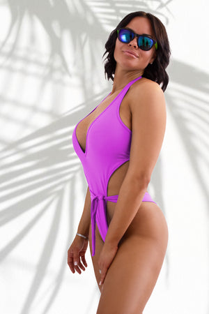 Plunge-Front Tie-Wrap One-Piece Swimsuit / VICKY SWIM MAGENTA