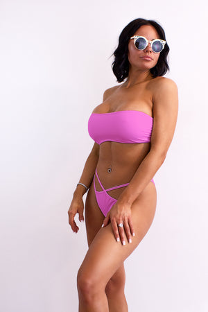 Bandeau Strapless Laced-up back Bikini Top  / TUBE SWIM PINK PARADISE