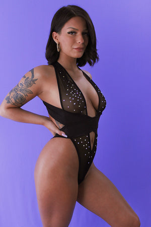 CRISS CROSS Mesh Crystals Bodysuit / Sexy lingerie / BLACK