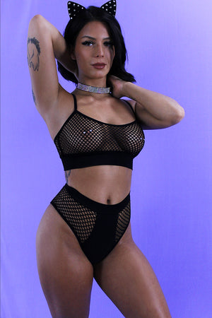 FISHNET BLACK HIGH-WAISTED BOTTOMS - EXES LINGERIE