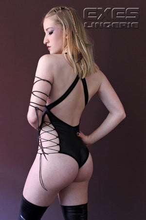 MIAMI Lace-up Wet Look Black Bodysuit,BODYSUITS - EXES LINGERIE