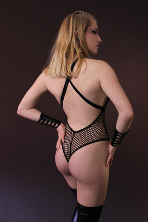 SLIM CUT Fishnet Bodysuit / Cheeky High-cut Bodysuit,BODYSUITS - EXES LINGERIE