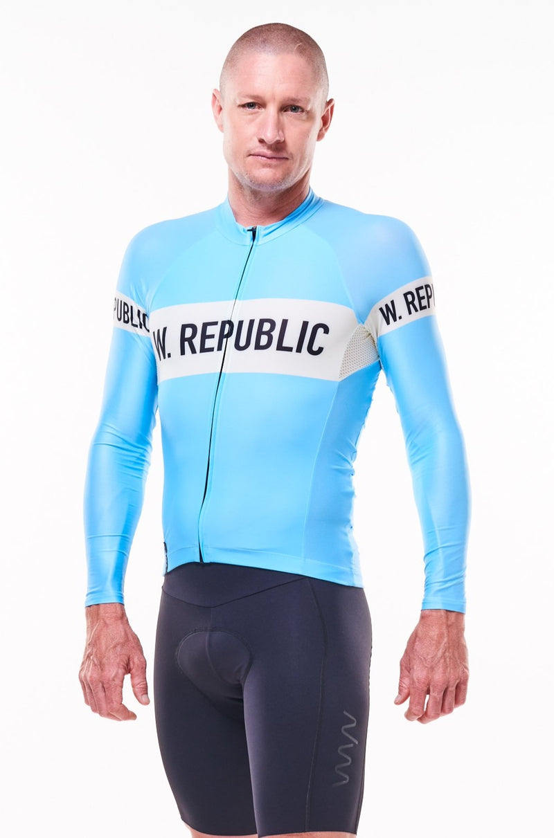 men's signature summer long sleeve cycling jersey - sky