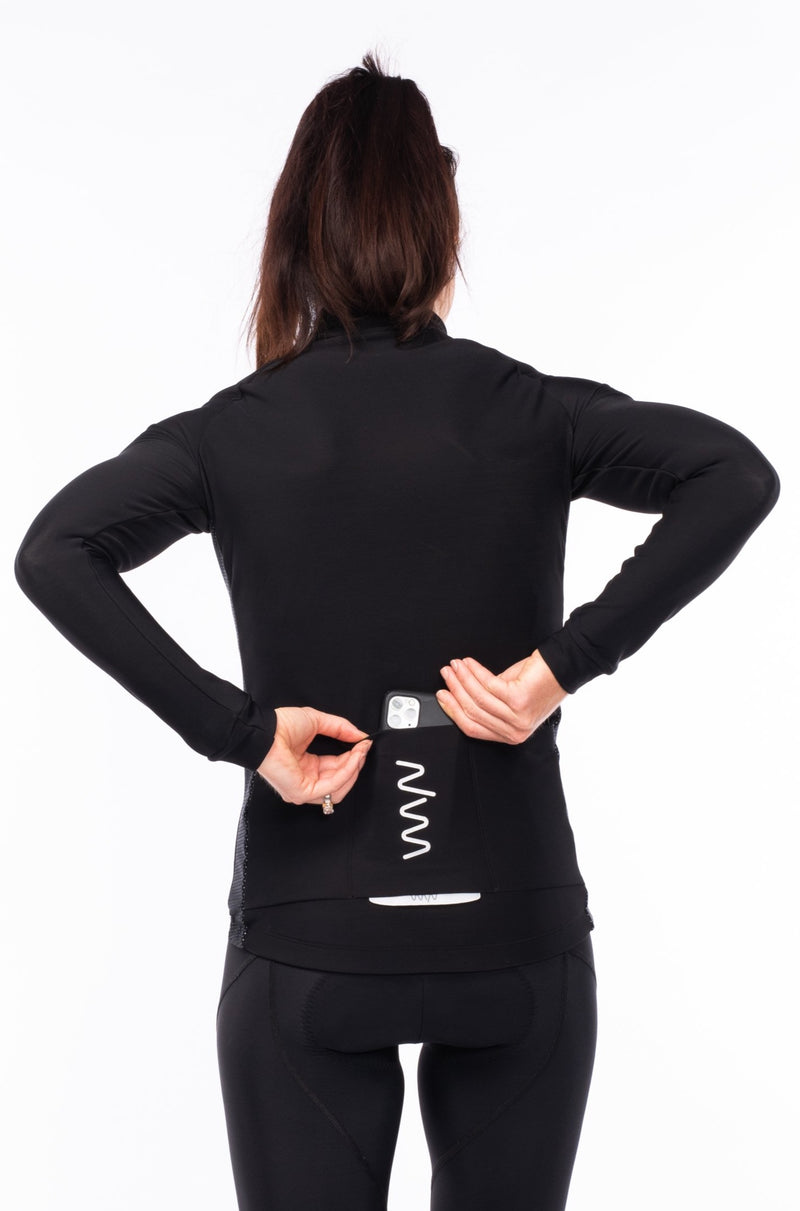 women's Italian fleece thermal cycling jacket - black